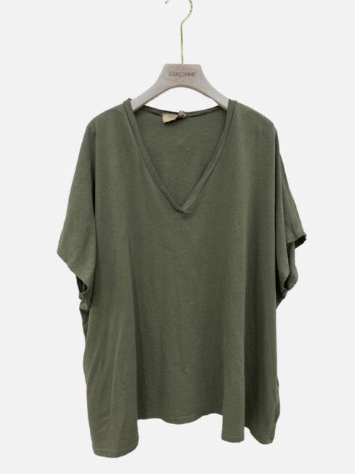 T-shirt algodão oversize verde