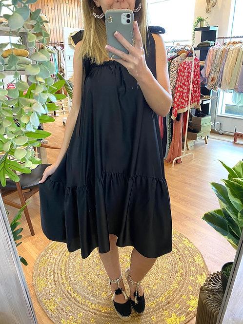 Vestido midi/saia acetinado preto