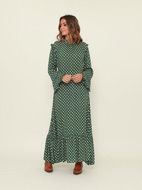 Vestido comprido bolas verde Vintage Bazaar
