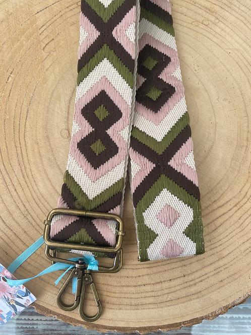 Alça para mala regulável verde/rosa