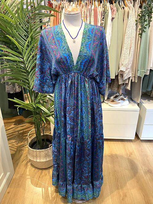 Vestido seda manga larga azul/verde