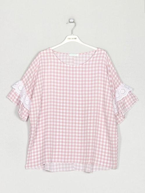 Blusa oversize quadradinhos c/renda rosa