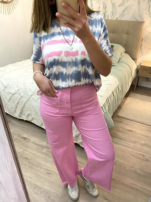 Calça wide leg com cinto rosa