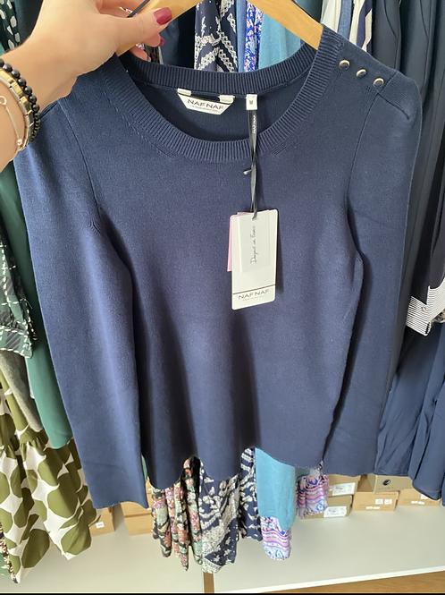 Camisola de malha azul Naf Naf