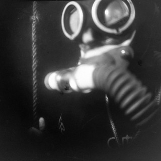 The picture was taken under water by a film camera of the size 18 by 24 cm. Monocle. Without a shutter. X-ray film. Flash Ikelite DS51.