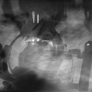 The picture was taken under water by a film camera of the size 18 by 24 cm. Pinhole. Without a shutter. X-ray film. Exposure about 15 min. First test shot.