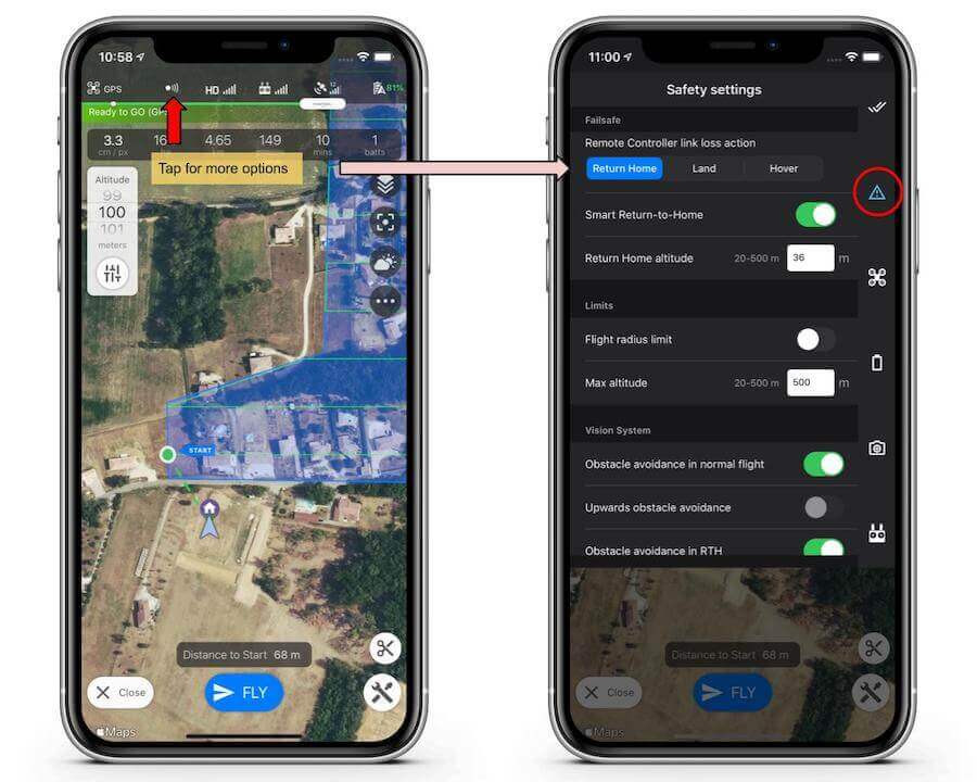 DJI drone system settings