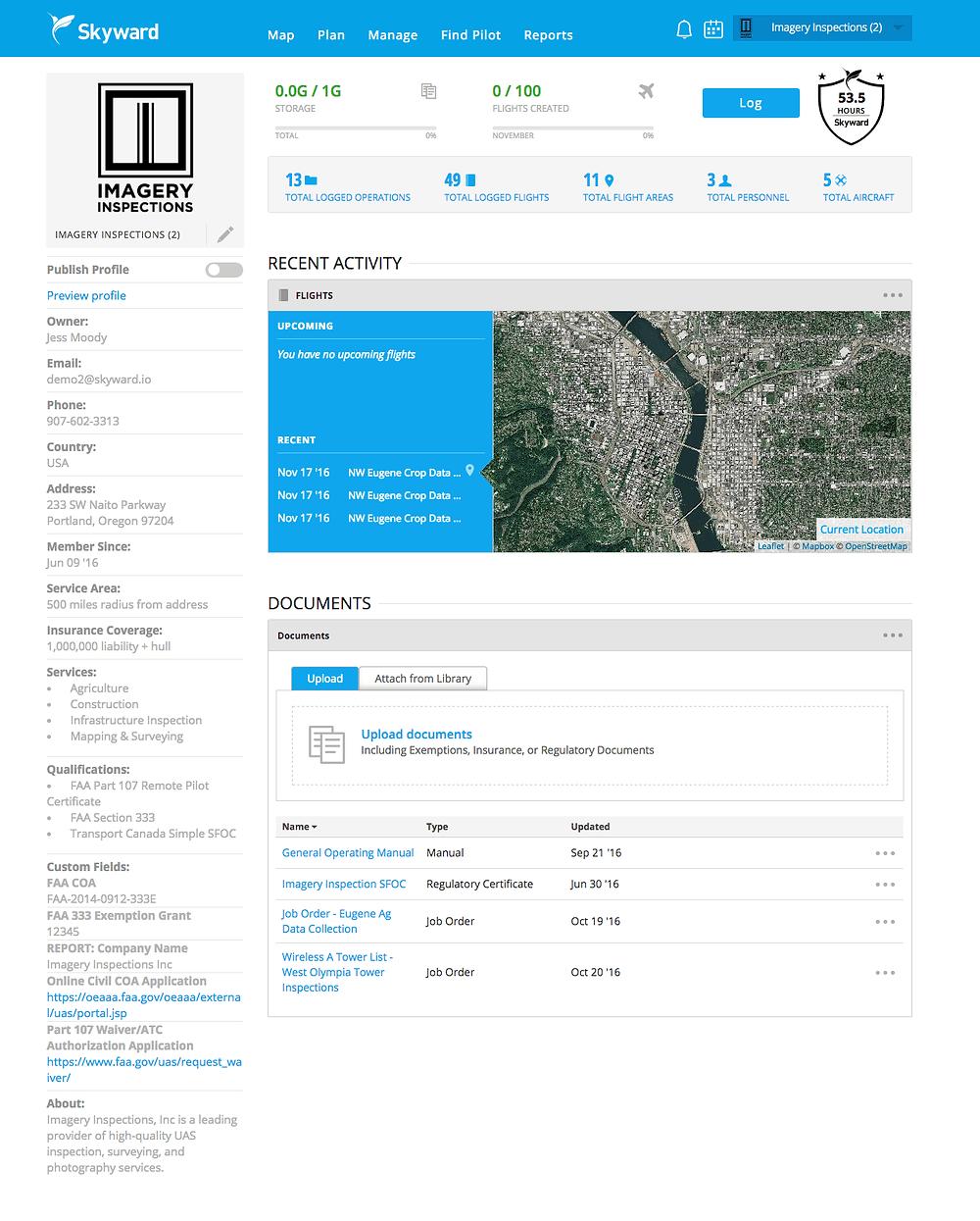 Панель управления Skyward.io