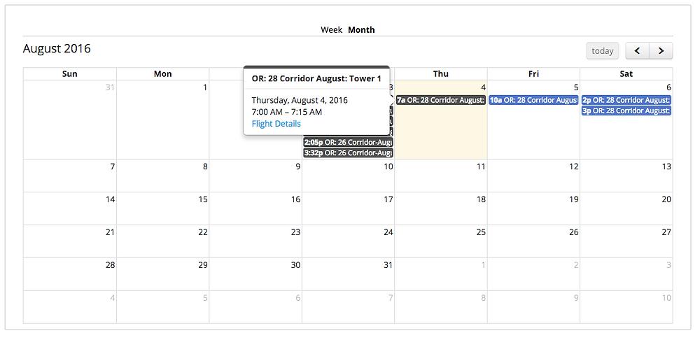 Календарь сервиса Skyward.io