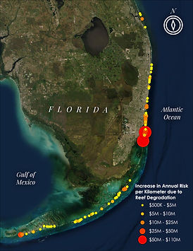 The consequences of projected future reef degradation in Florida.  The map identifies where further reef loss will increase risks the greatest. The size of the circles indicates the increase in annual expected economic damages per kilometer of coastline.  Map created in collaboration with Jessica Kendall-Bar and Chris Lowrie using data from UCSC & USGS  Report: Storlazzi et al. 2021 https://pubs.er.usgs.gov/publication/ofr20211055
