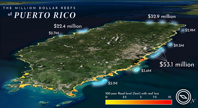 A map showing the reefs of Puerto Rico that provide over one million dollars of estimated flood protection benefits each year. Map created in collaboration with Jessica Kendall-Bar and Chris Lowrie using data from UCSC's Coastal Resilience Lab: Reguero et al. 2019.