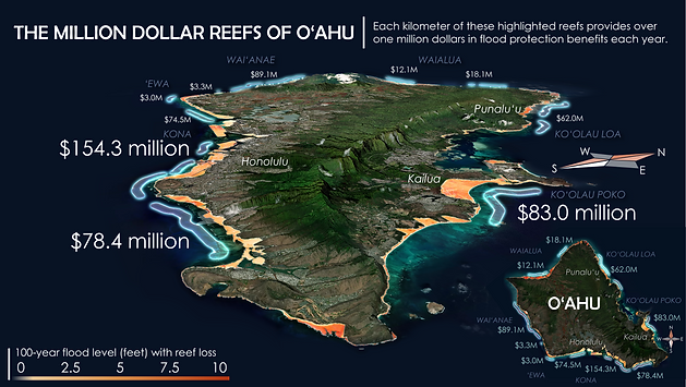 A map showing the coral reefs of Oahu that provide over one million dollars of estimated flood protection benefits each year. Map created in collaboration with Jessica Kendall-Bar and Chris Lowrie using data from UCSC's Coastal Resilience Lab: Reguero et al. 2019.