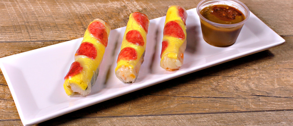 Summer Rolls with Chinese Sausages, Omelette, Jicama and Dried Shrimps - Bò Bía