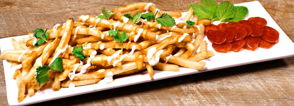 Loaded Fries and Chinese Sausage - Khoai Tây Chiên Với Lạp Xưởng