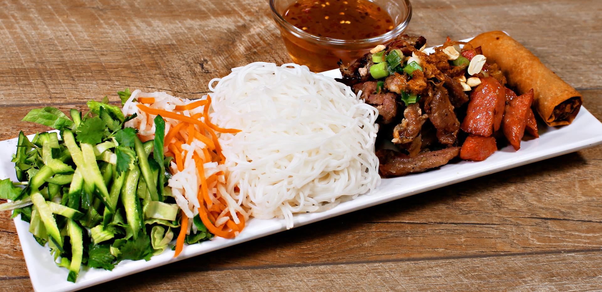 Vietnamese Grilled Pork, Egg Rolls, Grilled Pork Patties & Rice Noodles - Bún Thịt Heo Nướng + Chả Giò + Nem Nướng