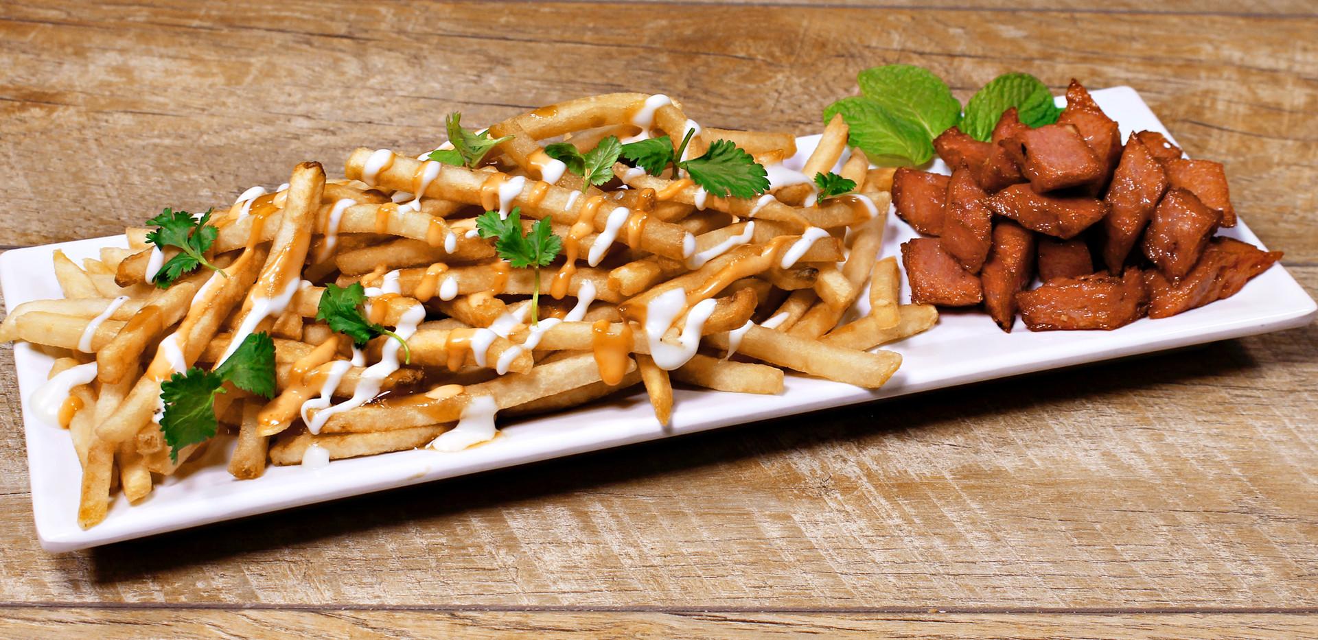 Loaded Fries and Grilled Pork Patty -  Khoai Tây Chiên Với Nem Nướng
