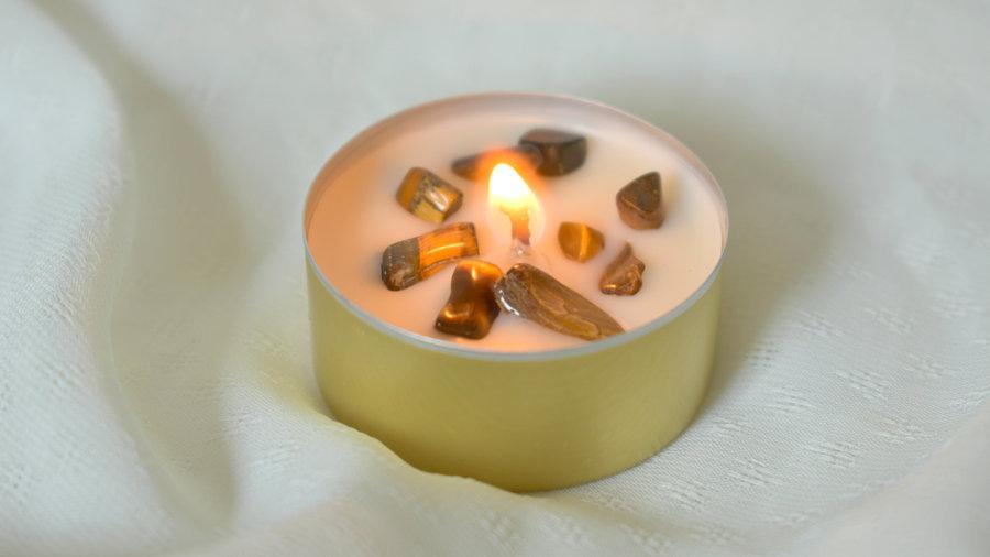 Bougie dorée cristaux