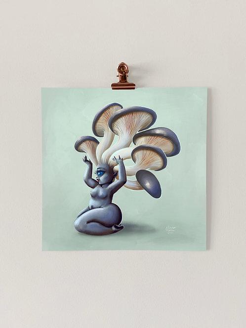 Blue Oyster Shroom Babe Art Print