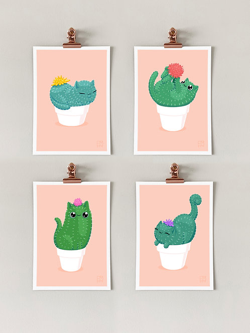Catcus Art Prints: Set of 4