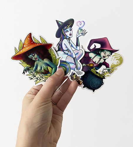 Witch Stickers: Set of 3