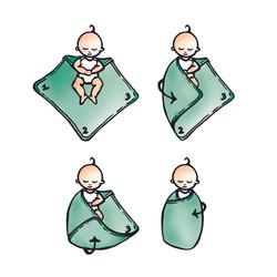 Educatieve illustratie gebruik van baby wikkeldoek