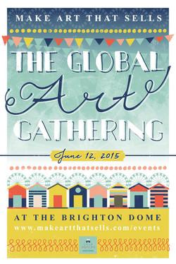 Hand lettering en illustratie; poster 'The Global Art Gathering'
