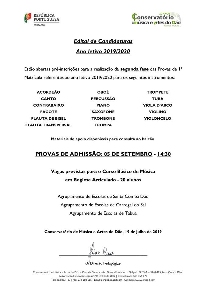 Curso Básico de Música em Regime Articulado (2ª fase) 2019/2010