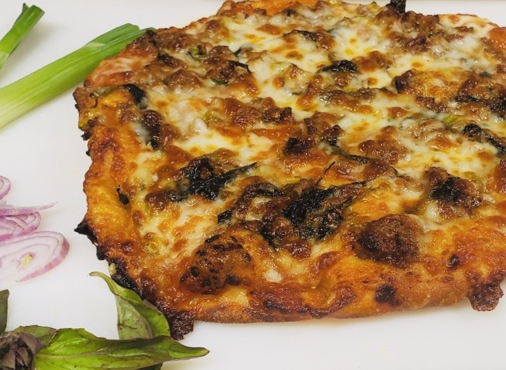 Pork basil pizza
