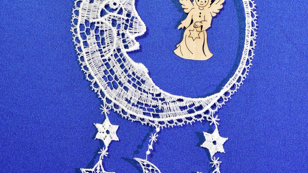 Mond mit Holzmotiv Engel / Moon with wooden motif angel