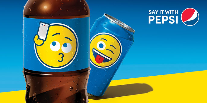 Say it with Pepsi campaign has a soda bottle with an emoji holding up an iPhone to take a selfie.