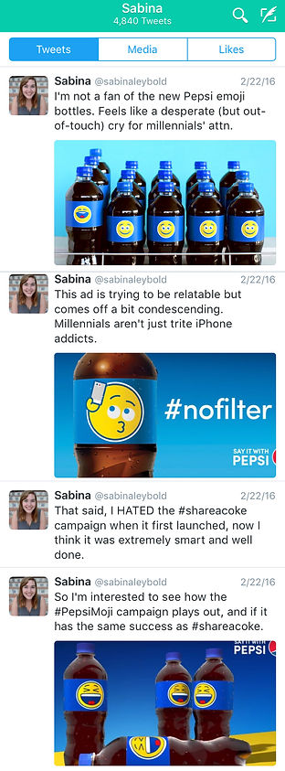 Screenshot of my twitter rant about Pepsi's emoji-focused campaign. Highlight include saying it seems like a cry for attention, but that I hated the Share a Coke campaign at the beginning too so I'm open to having my mind changed.