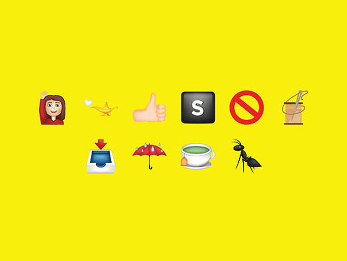 Partnership for a Drug Free America PSA includes many emoji, include thumbs-up sign, umbrella, and ant.