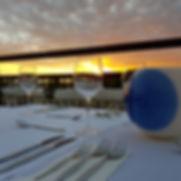 Sunset, table set