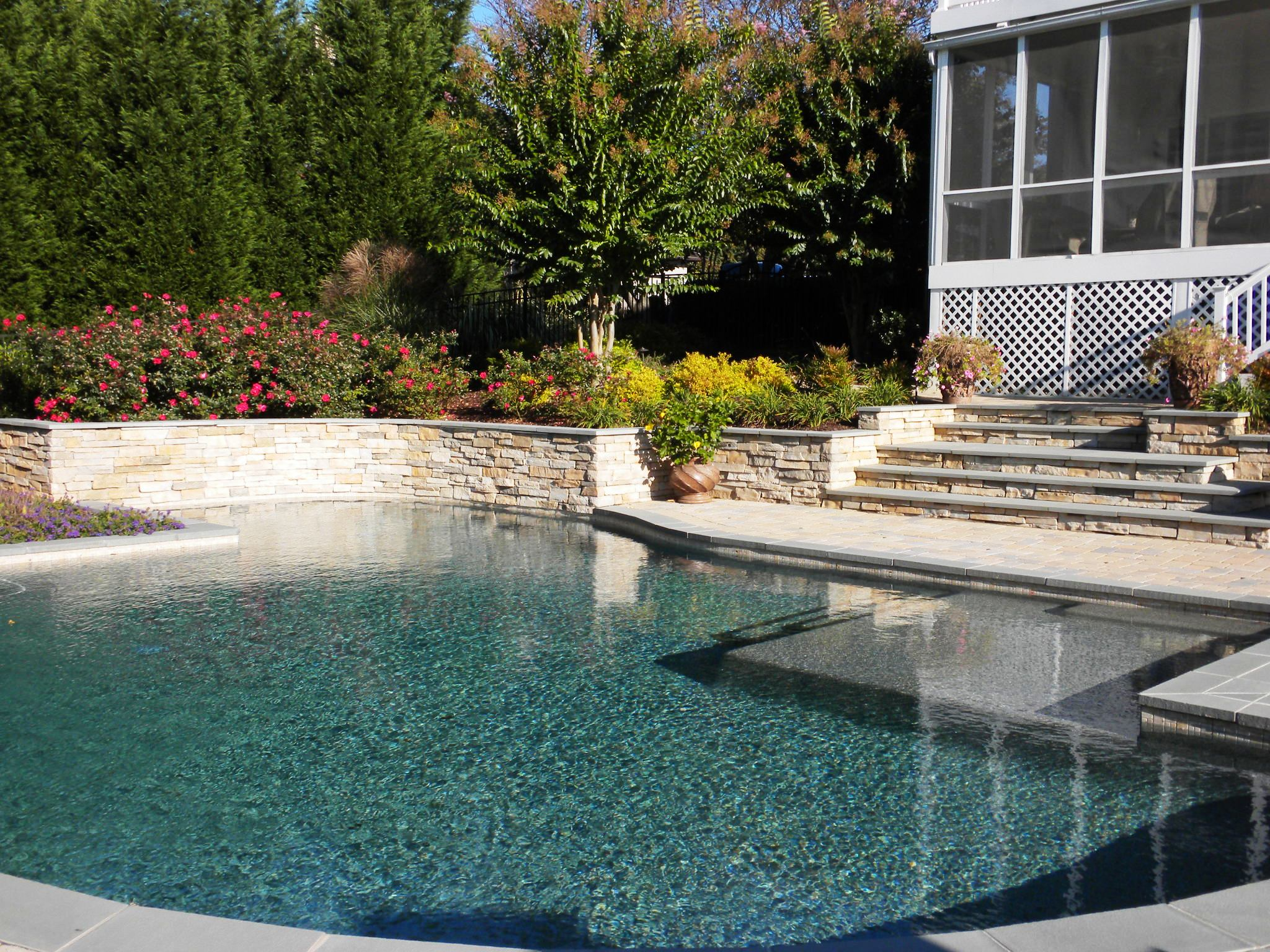 Pool Wall Paver Steps