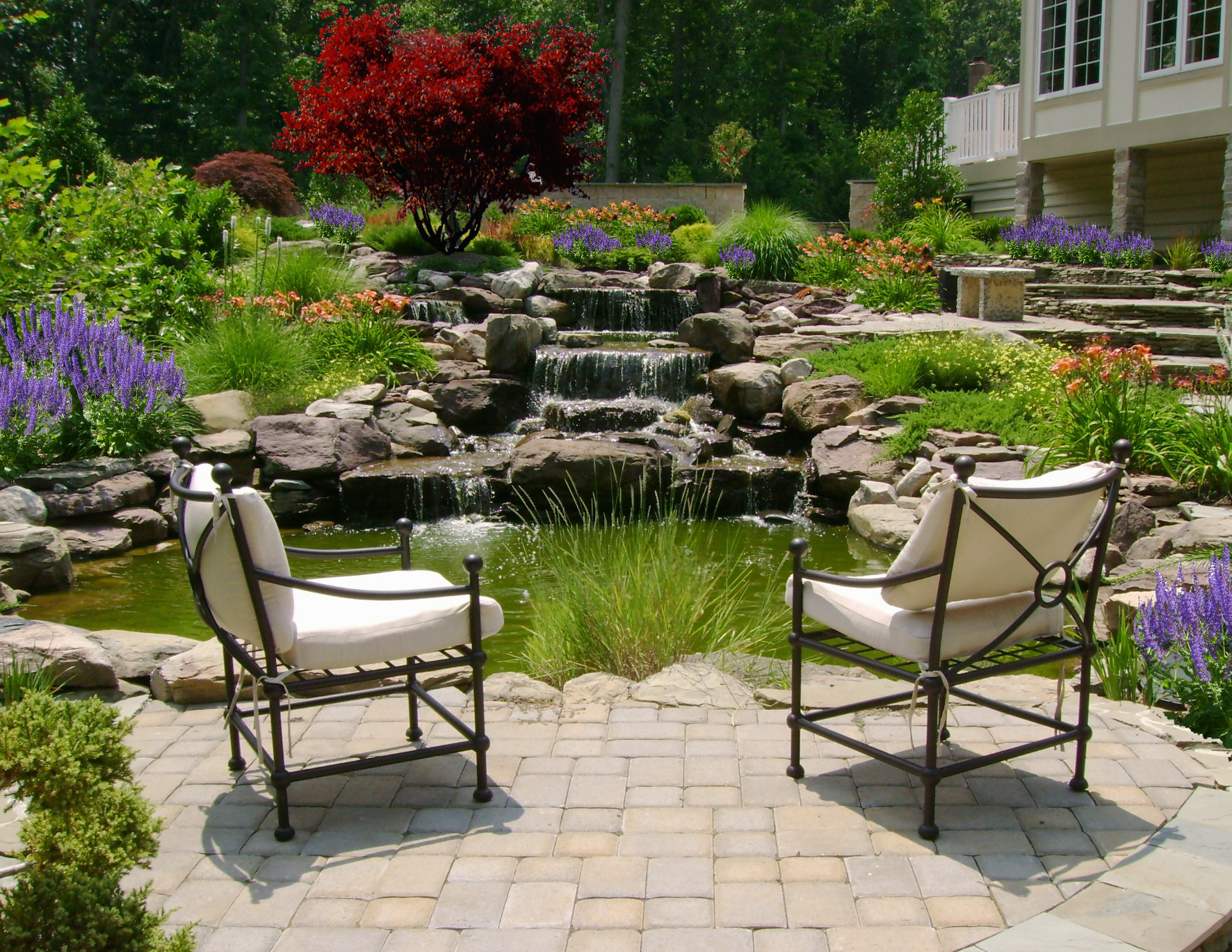 Waterfall Pond Paver Patio