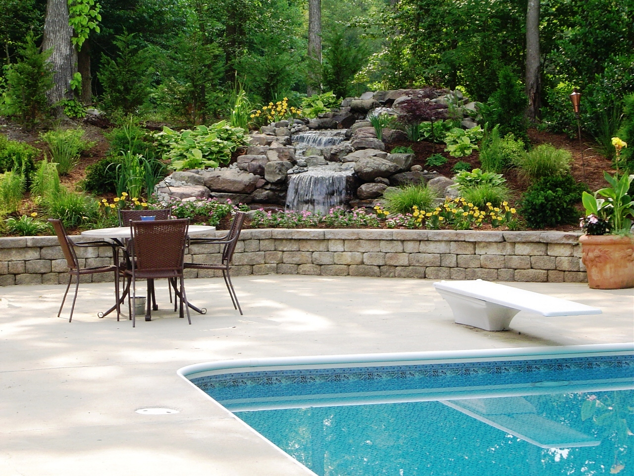Pool Deck Waterfall Wall Plants