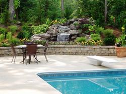 Pool Deck Waterfall Wall Plants