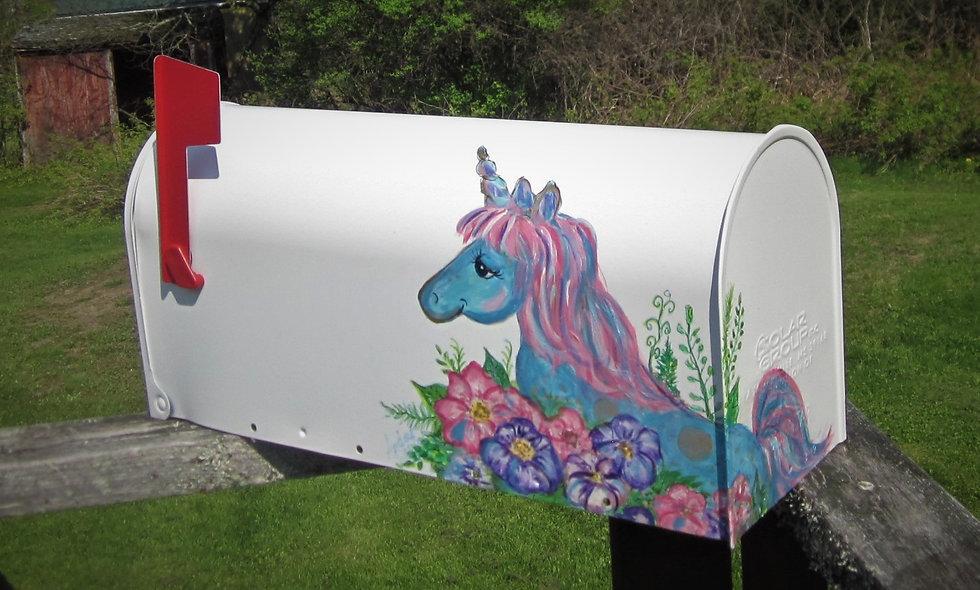 P 104 Hand Painted Mailbox with Unicorn