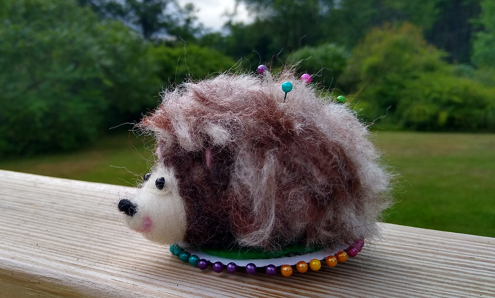 Pin Cushion, Hedgehog, Porcupine, Crafters, Sewers, Felted Pin Cusion