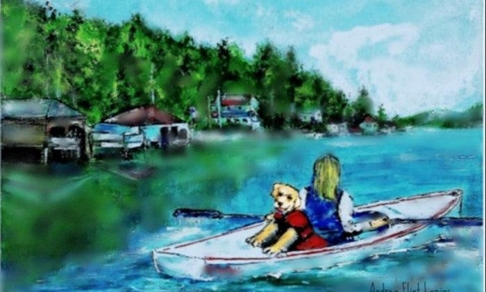 Kayaking In The Harbor Print
