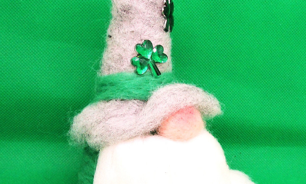 Hand Needle Felted St Patrick's Day Gnome