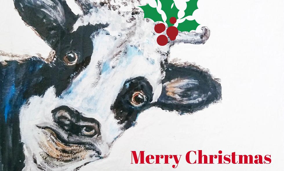 Christmas, Holiday Card, Cow Christmas  Card, Cow Holiday/Chris