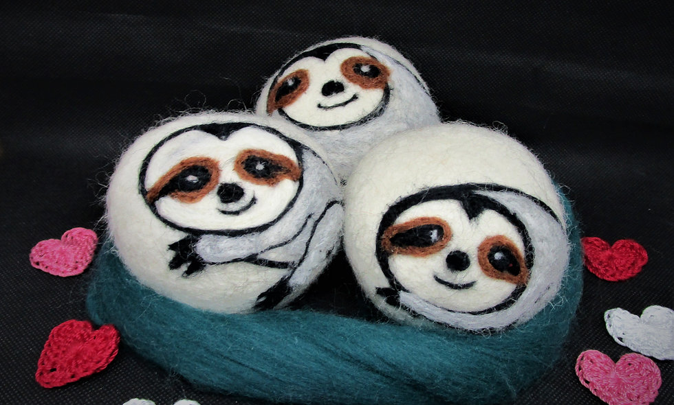 Dryer Balls, sets of Three , Sloths