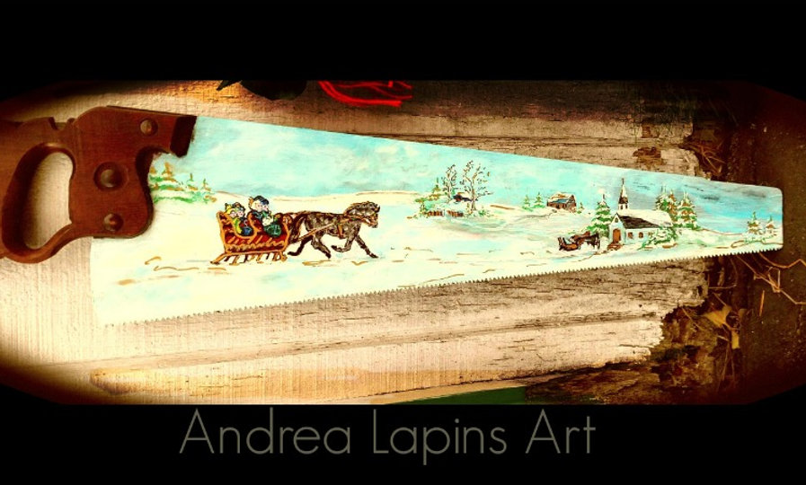 P 101    Vintage Saw, hand painted Winter Sleigh Scene