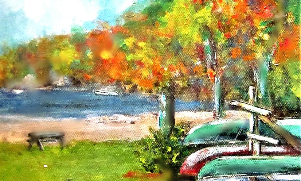 Lake Sunapee Canoes Print