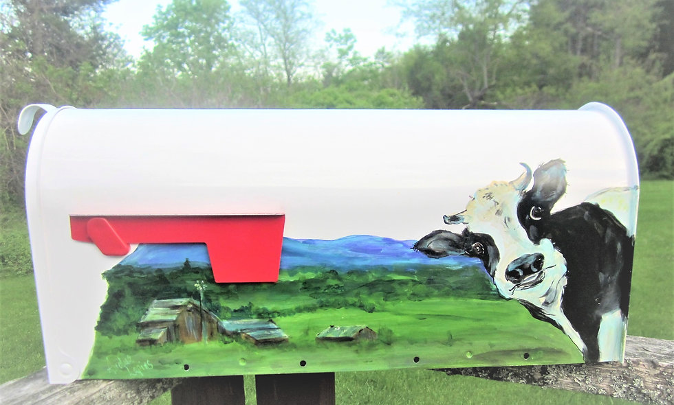 P 105 Hand Painted Mailbox with Cow