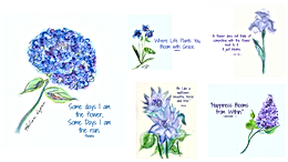 Blue Flowers Laminated Placemat, Blue flowers, Placemats