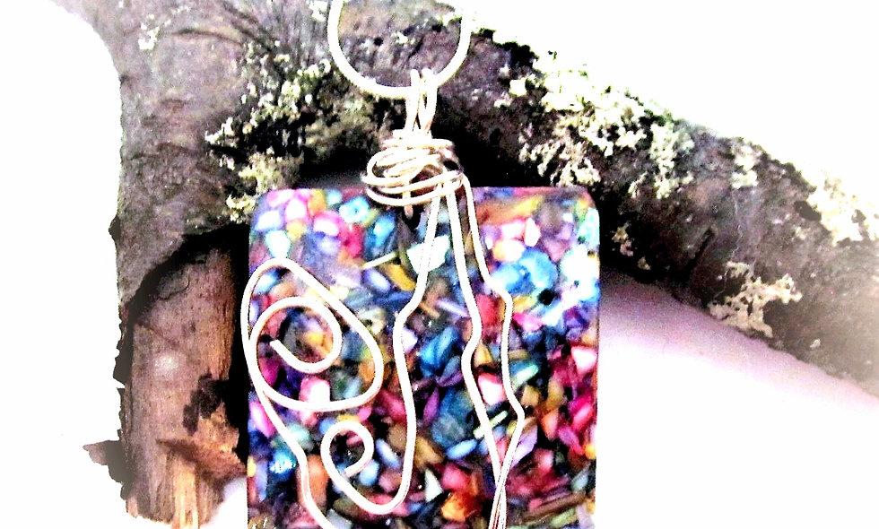 Striking Multi Colored Glass pendant