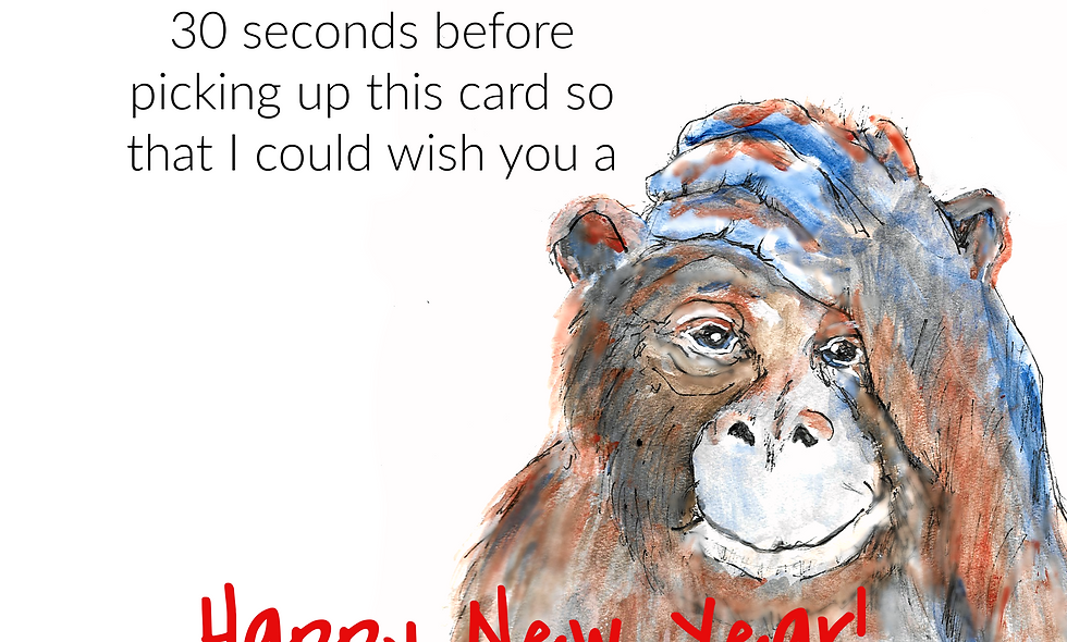 New Years Card, Funny Card, Monkey Card