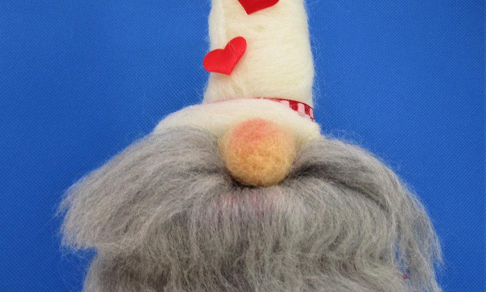 Hand Needle Felted Valentine Gnomes